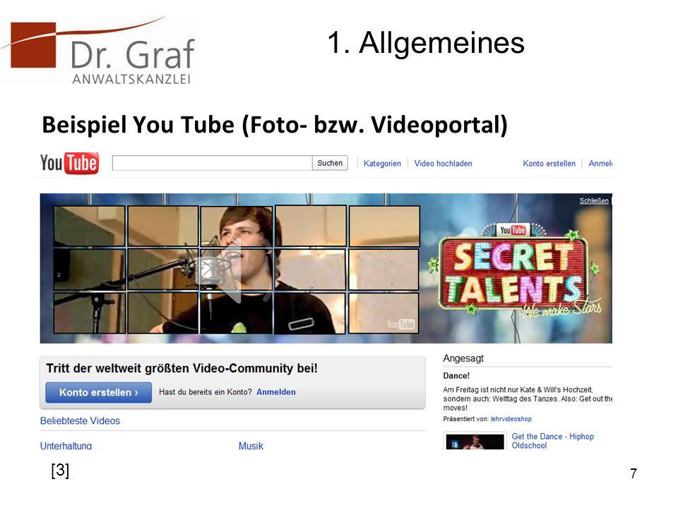 1. Allgemeines Beispiel You Tube (Foto- bzw. Videoportal) [3]